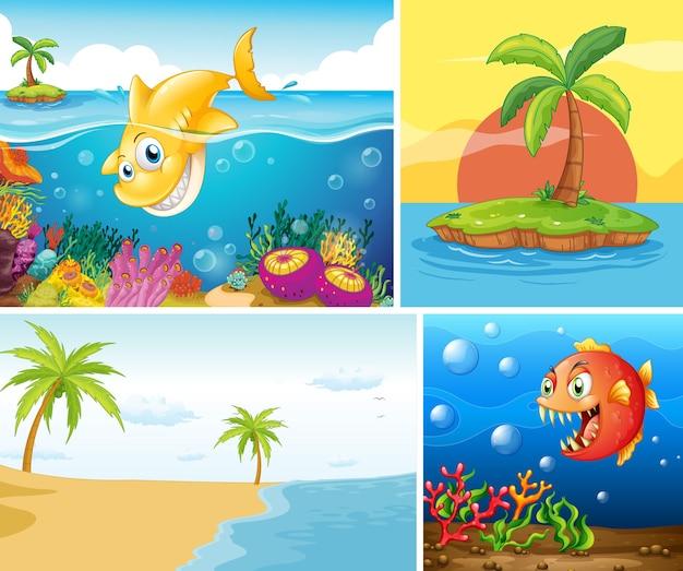바다 자연 삽화의 세트 무료 벡터