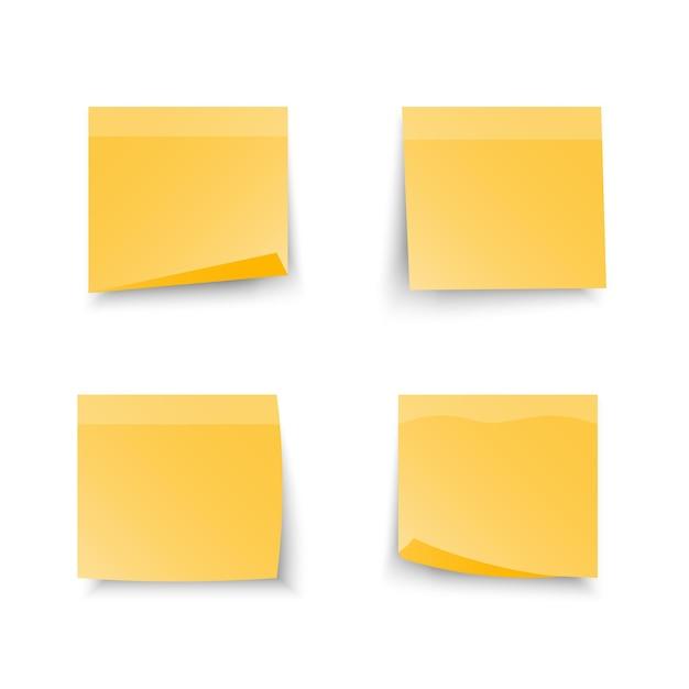 Набор офисных желтых записок, изолированных с реальной тенью на белом фоне. Premium векторы