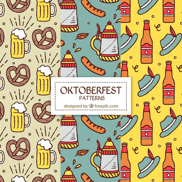 Set of oktoberfest food and drink patterns