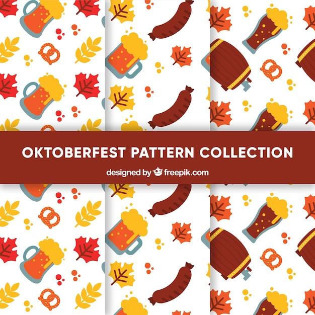 Set of oktoberfest patterns in flat design