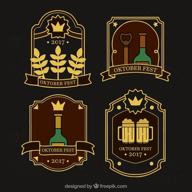 Set of oktoberfest vintage badges