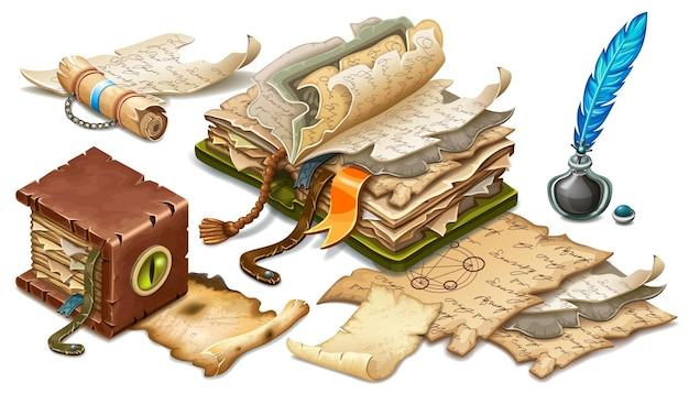 오래 된 책, 스크롤, 양피지, 서류 세트 무료 벡터