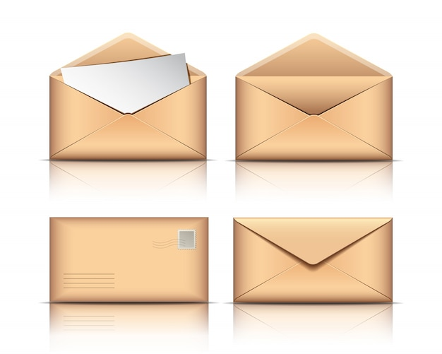 白い背景の空白の紙で古い封筒をセットします。 Premiumベクター