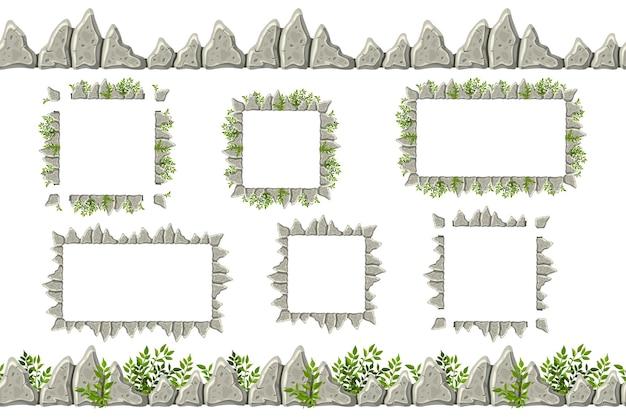 오래 된 회색 바위 테두리, 잔디와 프레임의 집합입니다. 무료 벡터