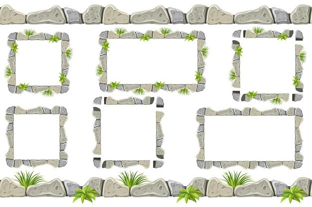 古い灰色の岩の境界線、草とフレームのセット。 無料ベクター
