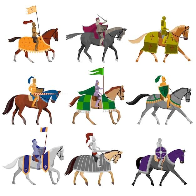 別の馬とヘルメットで古い中世の騎士のセット Premiumベクター
