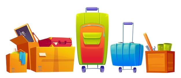 Набор старых вещей, багажа, чемодана и багажа, детские доски, гаечный ключ, летучая мышь и моющие средства в картонных и деревянных коробках, изолированных на белом фоне. мультфильм иллюстрация, значок, картинки Бесплатные векторы