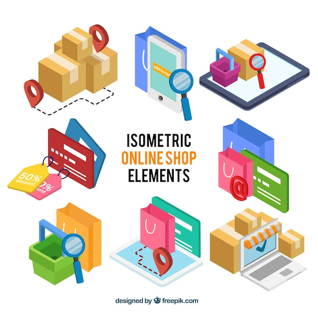 Set of online store elements in isometric style