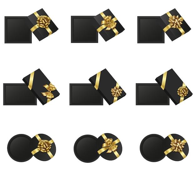 上から見たオープンギフトボックスのセット。金の弓で隔離された黒いギフトボックス。ブラックフライデーの要素 Premiumベクター