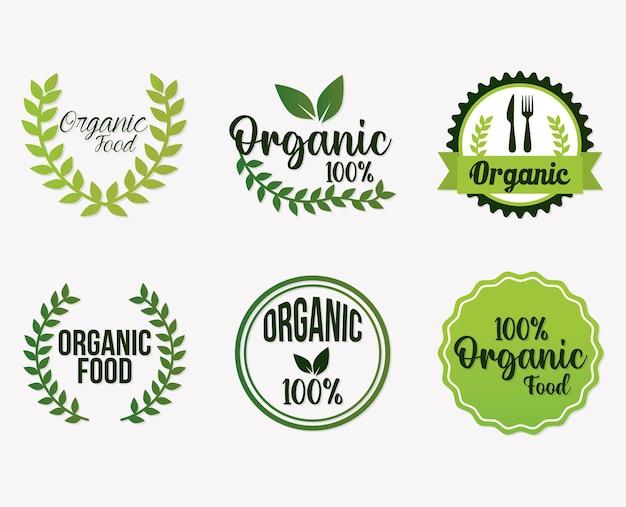 Набор букв органических продуктов питания Premium векторы