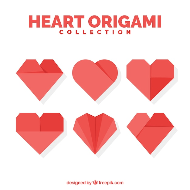 set of origami hearts vector free download