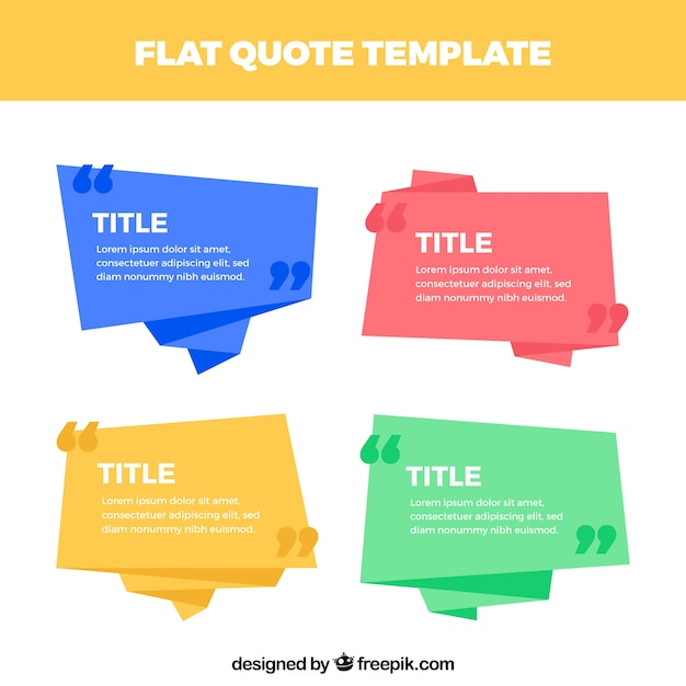 Set of origami speech bubbles for quotes