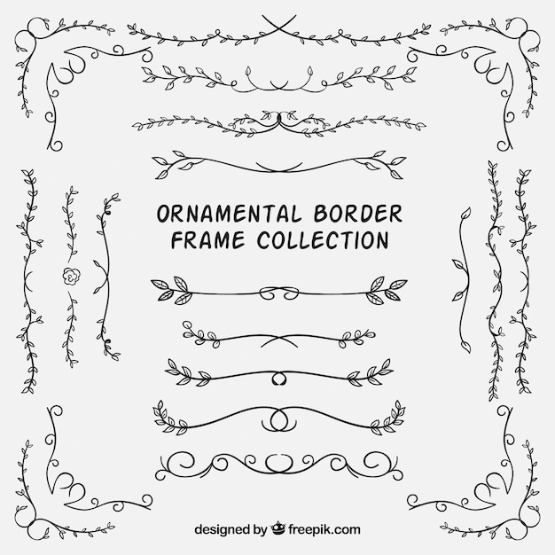 Set of ornamental borders with leaves  Free Vector