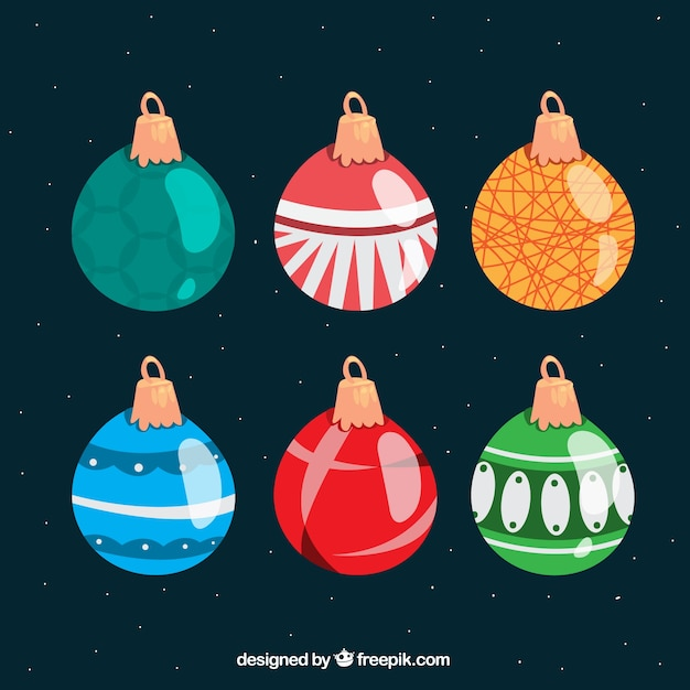 Set of ornamental christmas balls