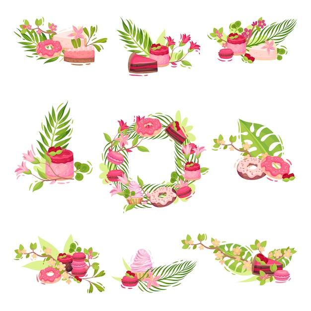花とお菓子で作られた装飾品のセット。白い背景のイラスト。 Premiumベクター