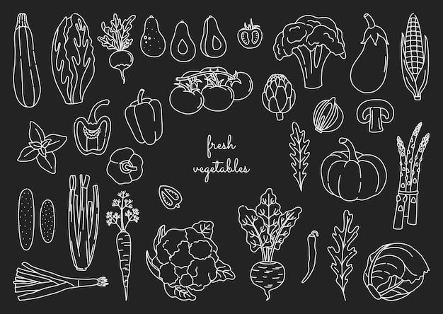 Набор овощей наброски в стиле каракули. пачка рисованной свежей вегетарианской еды с белым контуром Premium векторы