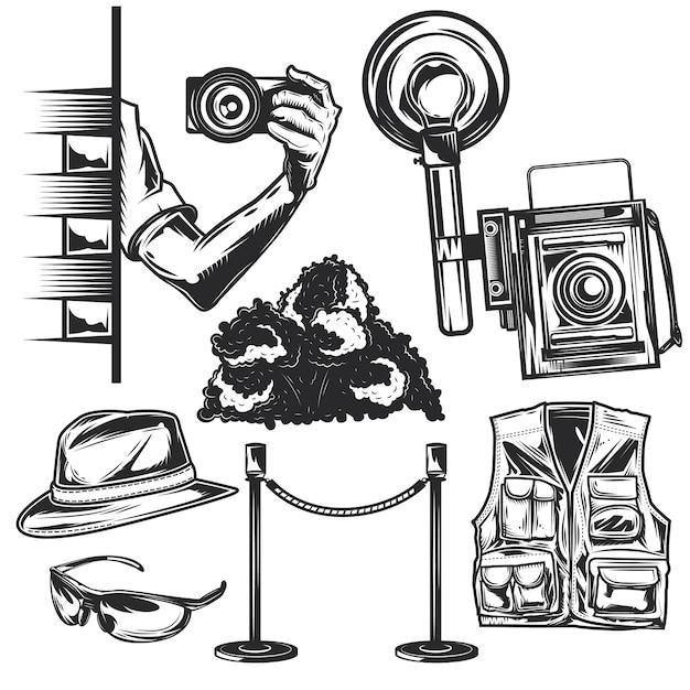 独自のバッジ、ロゴ、ラベル、ポスターなどを作成するためのパパラッチ要素のセット。 Premiumベクター