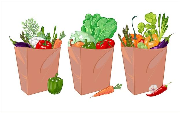 ヘルシーな野菜がたっぷり入った紙袋一式。 Premiumベクター