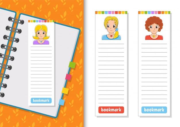Набор бумажных закладок для книг с милыми героями мультфильмов. Premium векторы