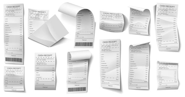 Набор бумажных чеков в различных формах Premium векторы