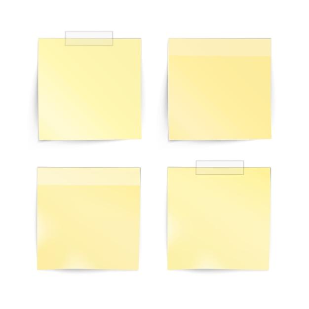흰색 바탕에 종이 스티커 스티커 메모 게시물 메모 레이블 집합 프리미엄 벡터