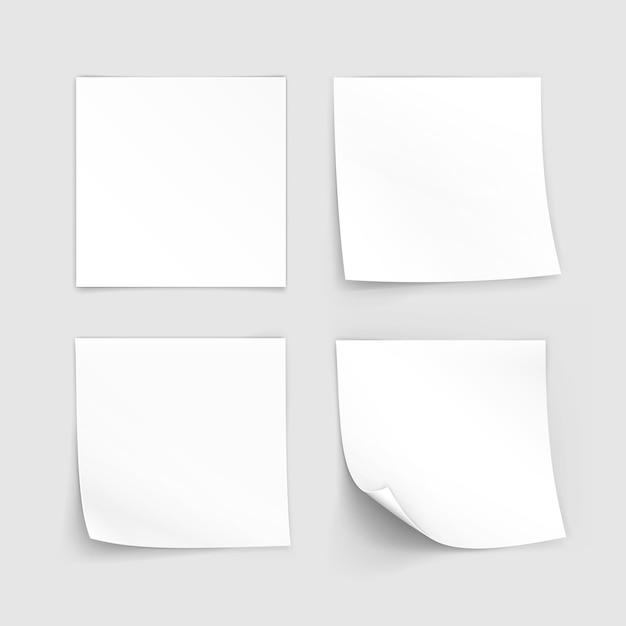 종이 스티커 스티커 메모 게시물 메모 레이블 집합 프리미엄 벡터
