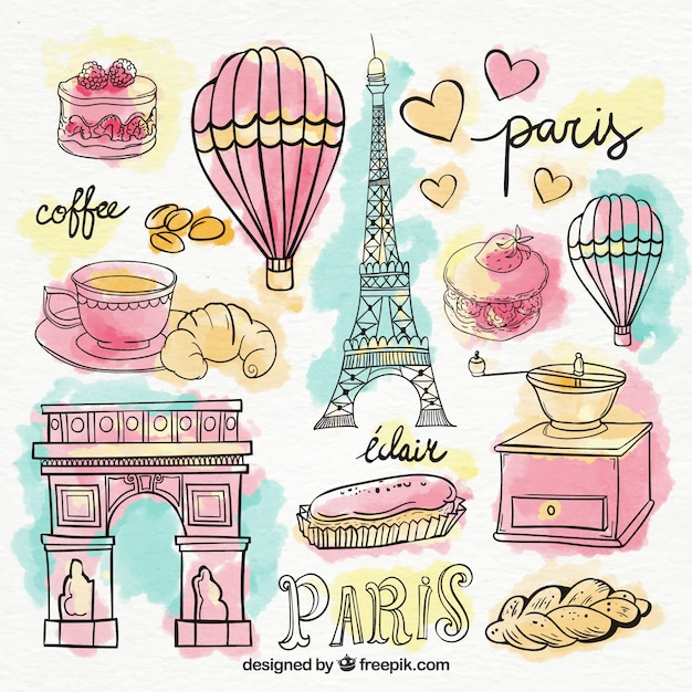 Set of paris elements in watercolors Free Vector