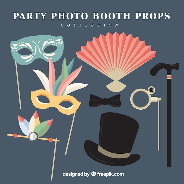 Exhibition Booth Vector Free Download : Set of party photo booth props in flat design vector