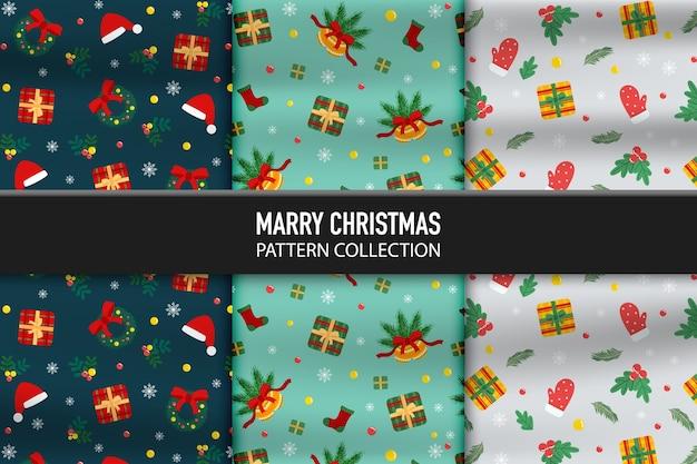 새 해 복과 크리스마스의 선물 상자와 장식 아이콘 패턴의 집합 프리미엄 벡터