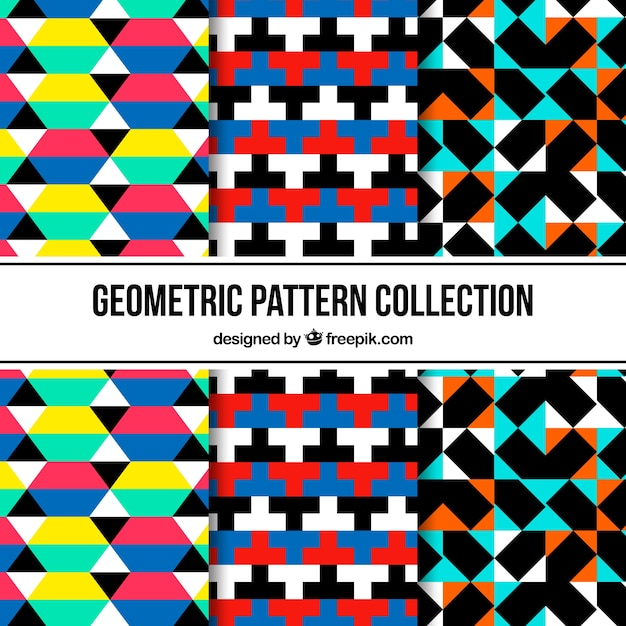 Set of patterns with colorful abstract shapes