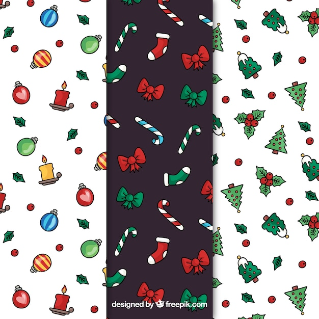 Set of patterns with decorative christmas drawings