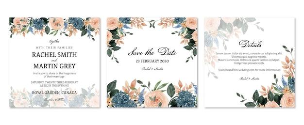 복숭아와 파란색 소박한 꽃 결혼 초대장 세트 프리미엄 벡터