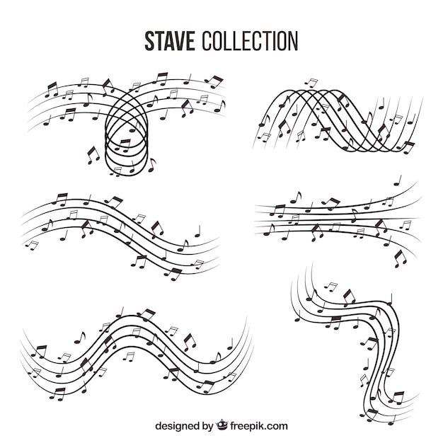 Набор пентаграмм с музыкальными нотами Бесплатные векторы