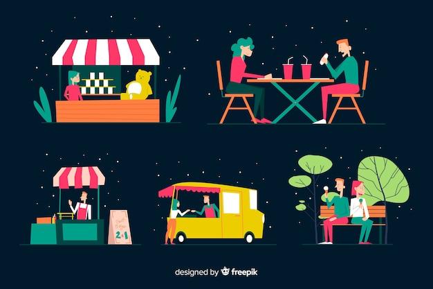 Набор людей на ночной ярмарке Бесплатные векторы
