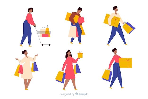 買い物袋を運ぶ人々のセット 無料ベクター