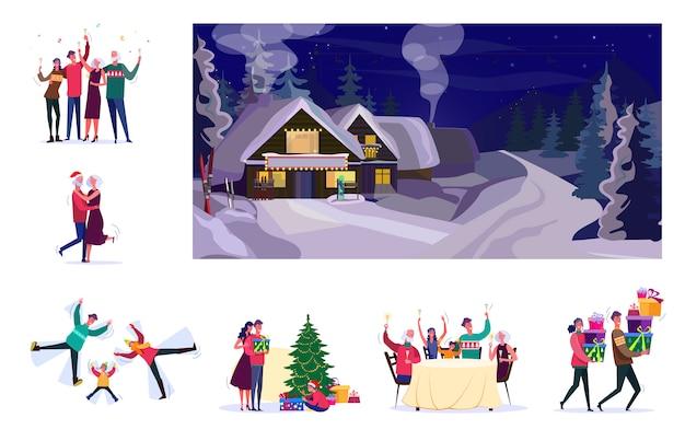 Набор людей, празднующих рождество Бесплатные векторы