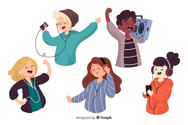 Набор людей, слушающих музыку, иллюстрированный Бесплатные векторы