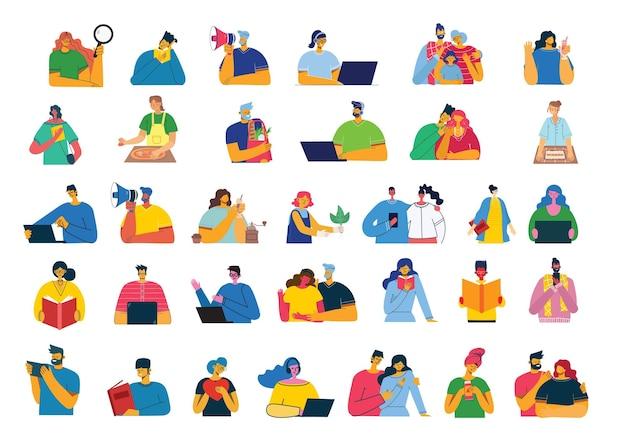Множество людей, мужчин и женщин, семья с детьми читает книгу, работает на ноутбуке, ищет с лупой, общается. Premium векторы
