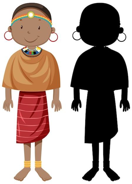 Набор персонажей африканских племен с его силуэтом Бесплатные векторы