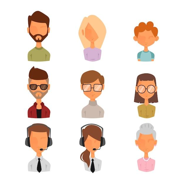 Набор людей портрет лицо иконы веб-аватары стиль. Premium векторы