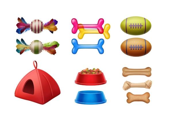 ペットアクセサリーのセット:おもちゃ、骨、ボール、骨、ボウル、家 Premiumベクター