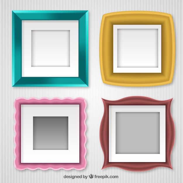 Set of photo frames with different designs Vector | Free Download