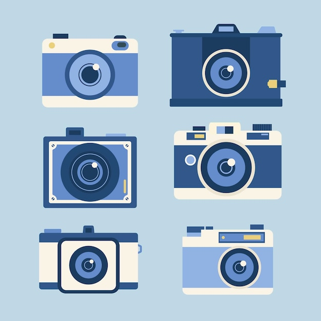 Set of photography cameras in flat design