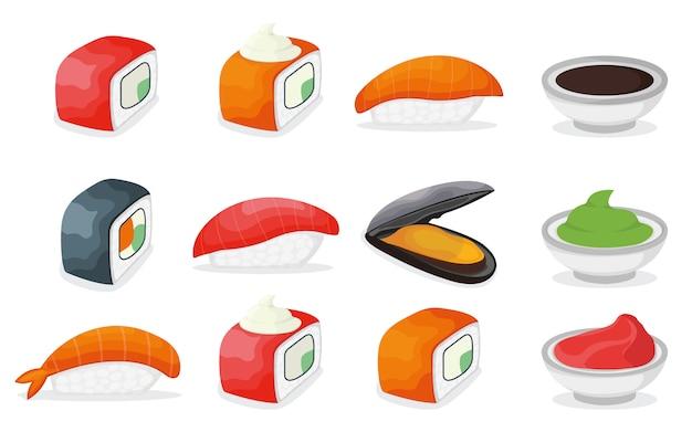 ピース魚サーモン寿司アイコン、新鮮な海のムール貝とエビ、醤油わさび、生姜の漫画イラストのセットです。 Premiumベクター