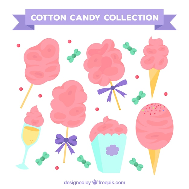 Set of pink cotton candy and sweets