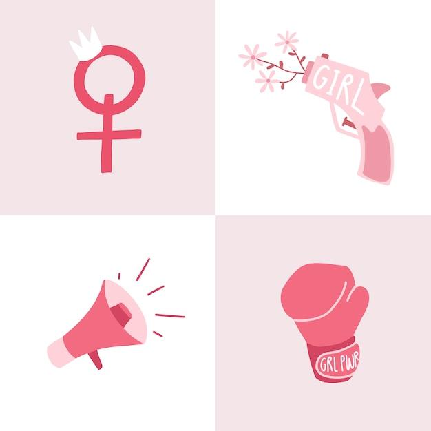ピンクフェミニストバッジベクトルのセット 無料ベクター