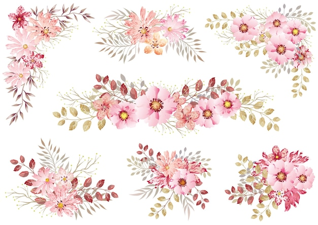 白で隔離のピンクの水彩花の要素のセット 無料ベクター