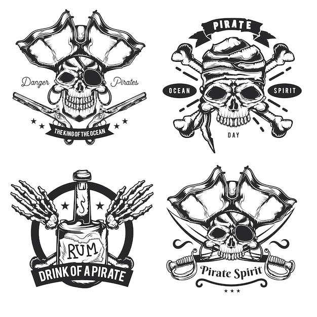 해적 요소 (병, 뼈, 검, 총) 엠블럼, 라벨, 배지, 로고 세트. 무료 벡터