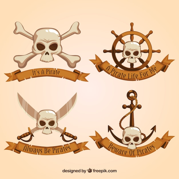 Set Of Pirate Ribbons With Skulls Vector Free Download