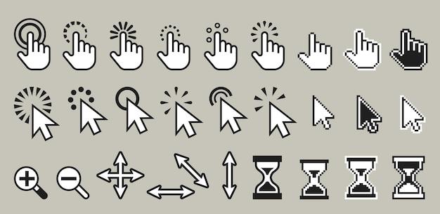 Набор пиксельных компьютерных иконок курсора мыши иллюстрации Premium векторы